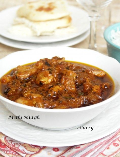 Methi Murgh/Chicken Curry with Fenugreek Leaves from eCurry. Like most ...