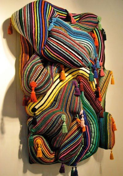 Knitting In Art : Knitted wall sculpture at houston fine art fair