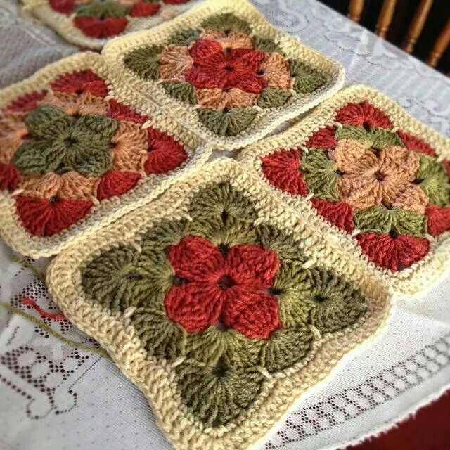 Crocheted granny-type squares Crochet Time Pinterest
