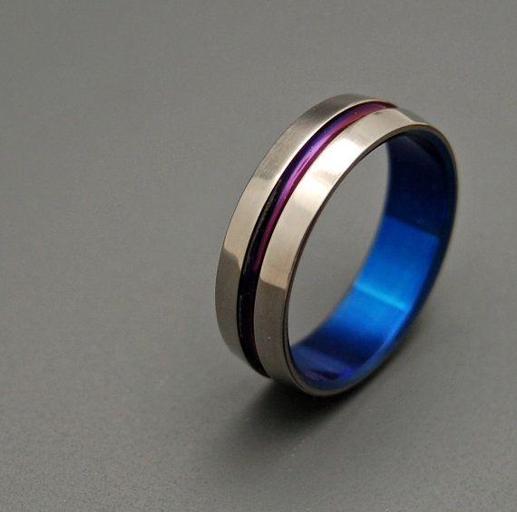 Purple And Blue Signature Ring Titanium Wedding Bands