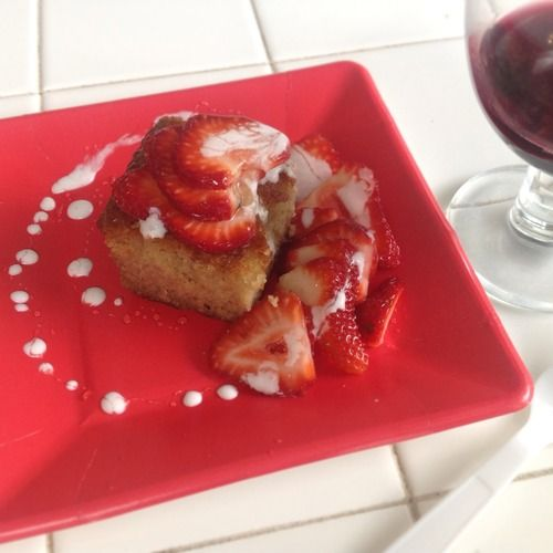 Mindy's Paleo Pound Cake topped with Strawberries, Honey & Coconut ...