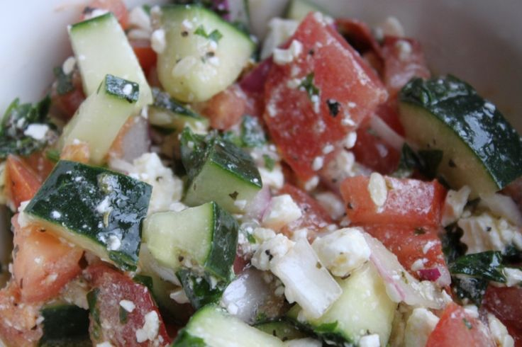 Greek tomato and cucumber salad | I need to cook this | Pinterest