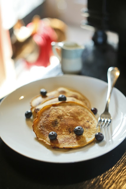 Cornmeal Blueberry Pancakes from The Chubby Vegetarian