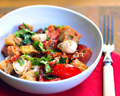 Two-tomato bread salad with roasted garlic dressing | Recipe