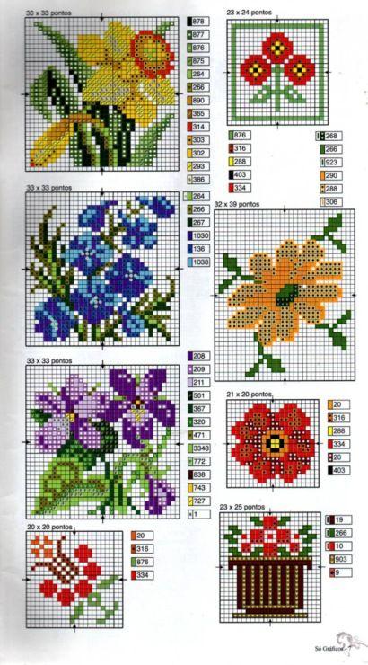 Мелкие цветы схемы для вышивки 387