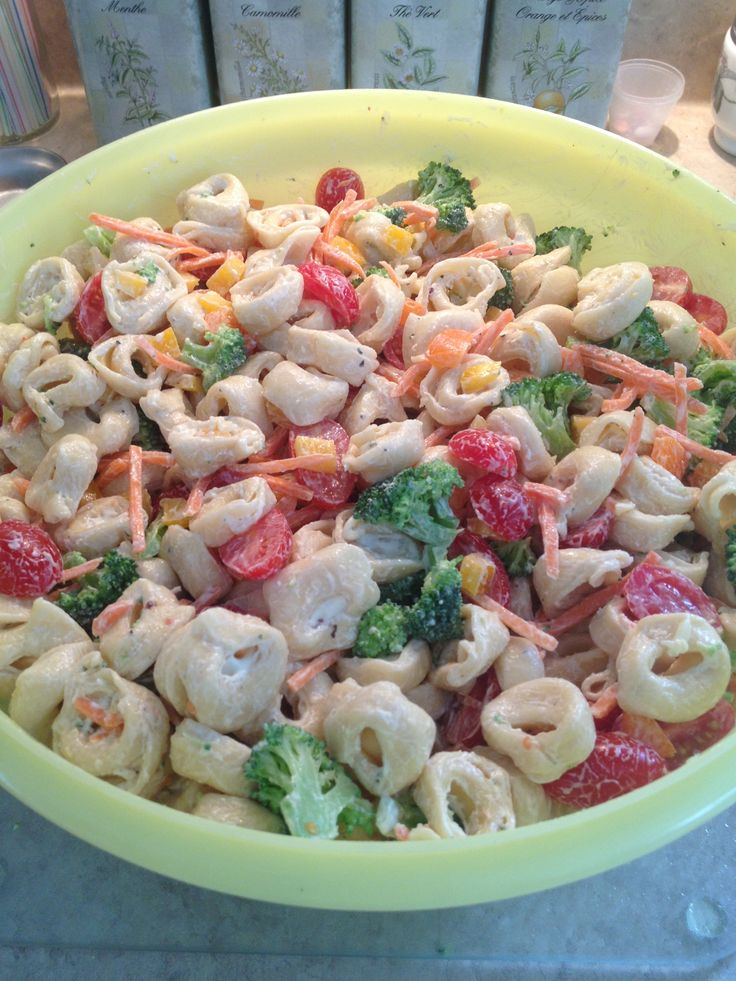 Pasta Salad Boil 4lbs frozen Tortellini add EVOO to water and to pasta ...