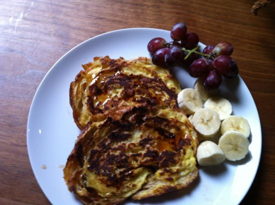 Day-old Croissant French Toast Beat two eggs, a quarter cup of milk, a ...