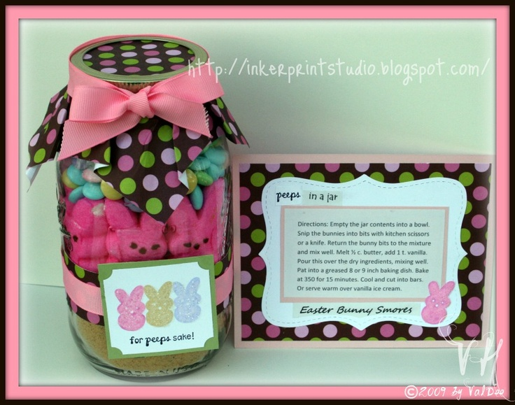 """Peeps in a Jar"" Easter s'mores dessert mix with recipe card. Great gift!"