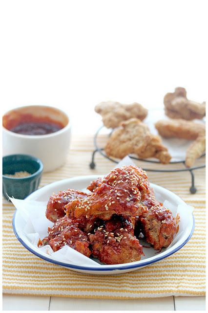 양념통닭 (Yangnyeom Tongdak). Korean spicy fried chicken. It's ...