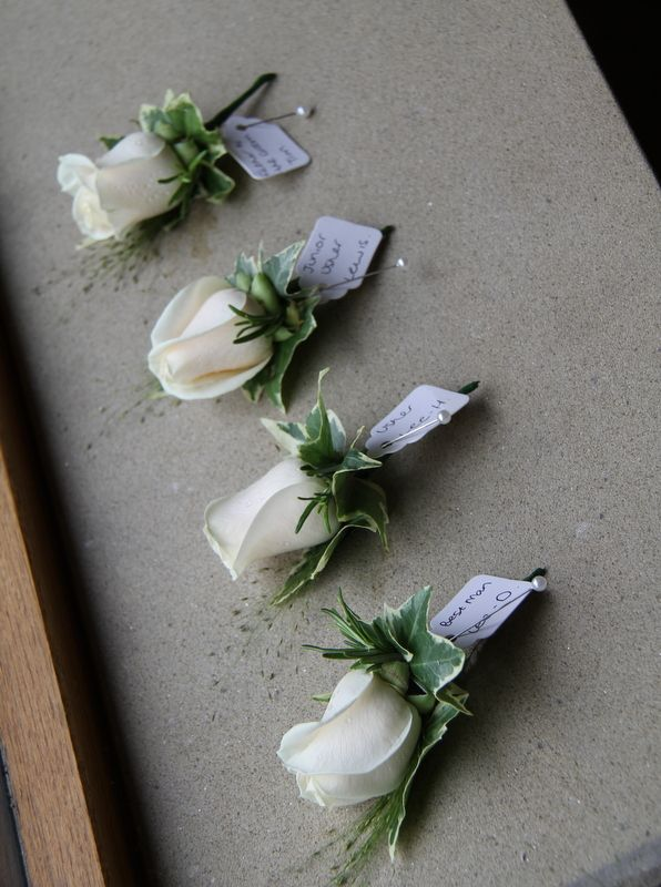 ... Men's Boutonnieres of Cream Vendella Roses with Ivy & Champagne G...
