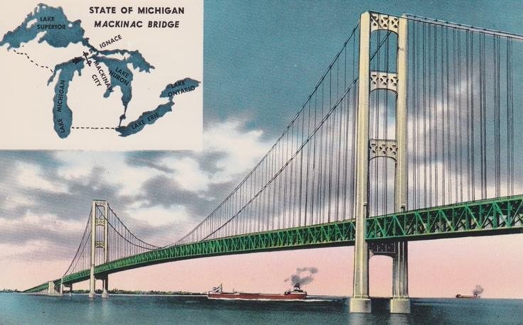 Vintage Postcard of Mackinac Bridge, MI