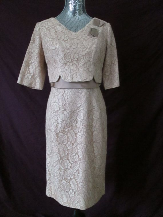Vintage 1950s Dress Renmor Champagne Taupe Lace Dress
