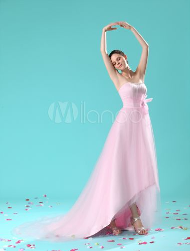 Pink a line draped beading tulle bridal wedding dress milanoo