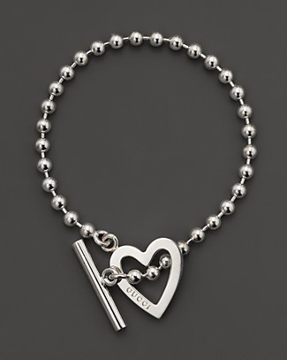 "Gucci Sterling Silver ""Toggle Heart"" Bracelet 
