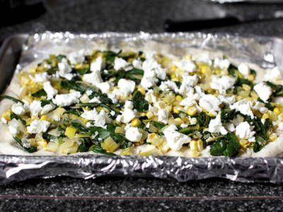 Goat Cheese Leek and Corn Flatbread | Recipes | Pinterest
