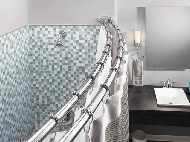 Double shower curtain rods House Addition