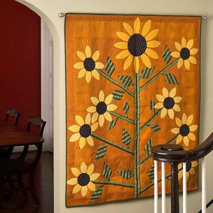 Sunflower Applique Wall Hanging Quilts I like Pinterest