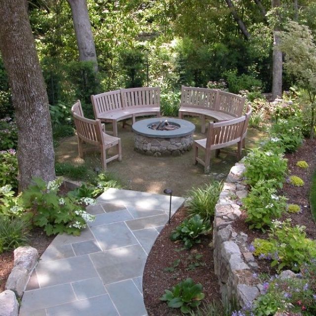 Fire Pit With Curved Benches Patio Pinterest