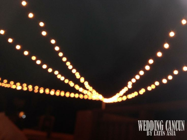 Add a canopy of #lights over the #cocktail area and you'll instantly fill the area with #romance ! What would you like to use for your own wedding? Send us an email latinasia.flowers@gmail.com or visit www.weddingcancun,mx for more ideas!