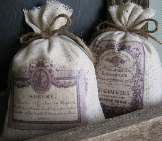 Lavender Sachets, Stocking Stuffers, Vintage French Perfume Labels, F ...
