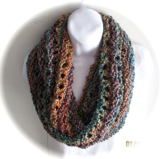 Knit Scarf Pattern Homespun Yarn : Hand made bulky knit cowl in multi colored jewel tones ...