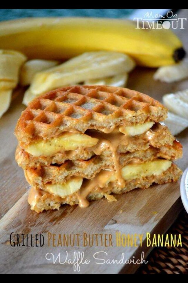 Whole-grain waffles with peanut butter, honey, and bananas