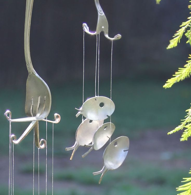 Spoon fish wind chimes minnow sized for Fish wind chimes