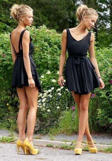 black dress yellow shoes this
