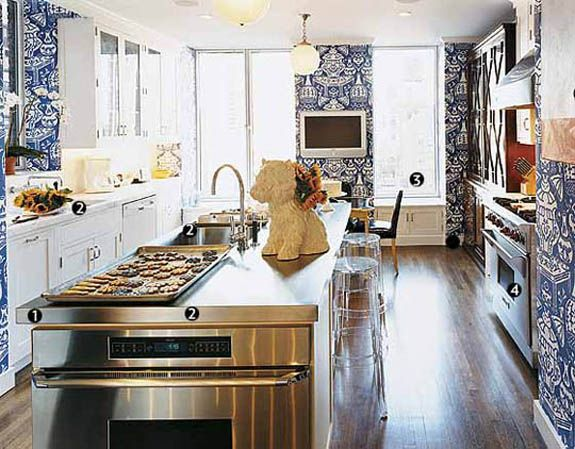 Blue vase wallpaper kitchen kitchen pinterest for Blue kitchen wallpaper