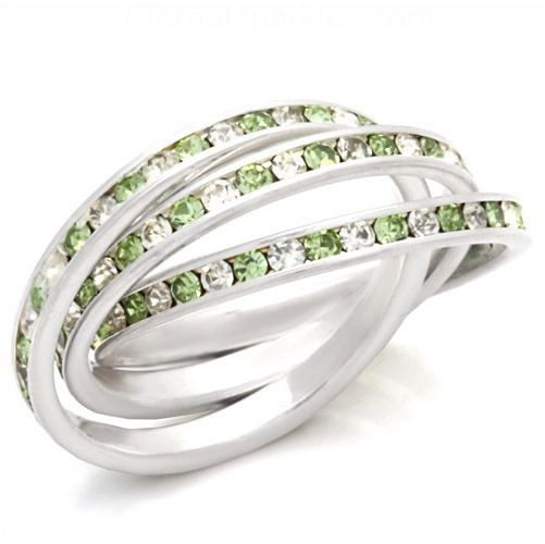 Sterling Silver Peridot Austrian Crystal Eternity Trio Ring  #fashionjewelry #peridot