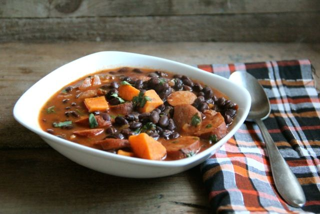 smokey black bean and sweet potato soup (with smoked sausage)