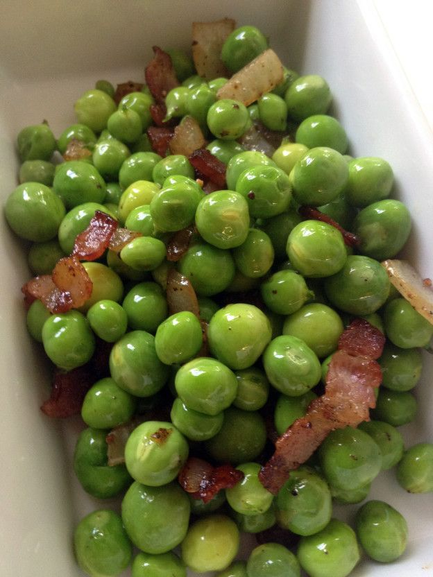 English Peas and Bacon Recipe | fall cooking | Pinterest