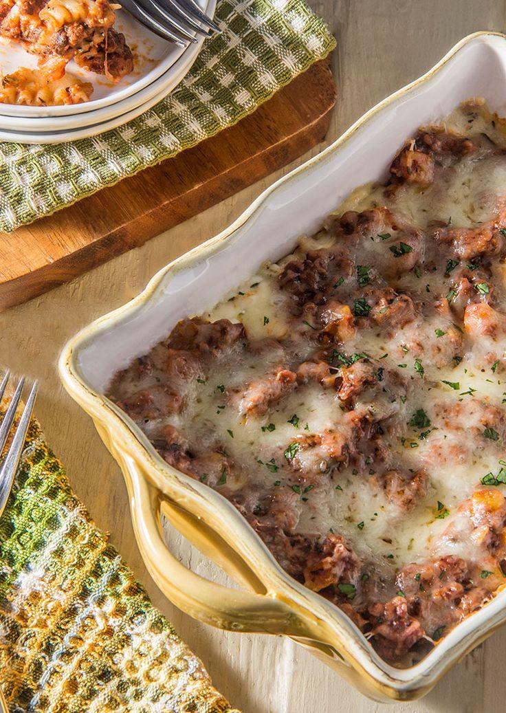 Skinny Three-Cheese Meat Lasagna