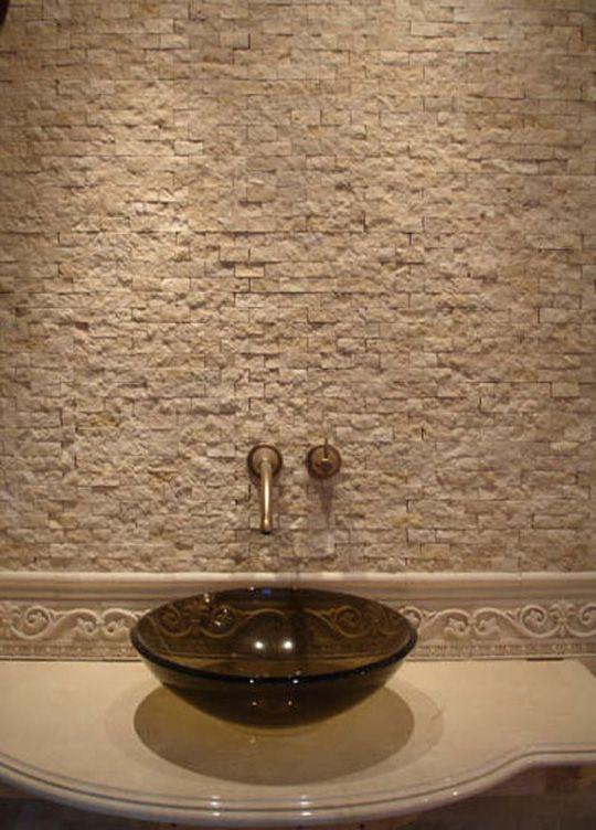 natural stone bathroom backsplash gorgeous glow pinterest