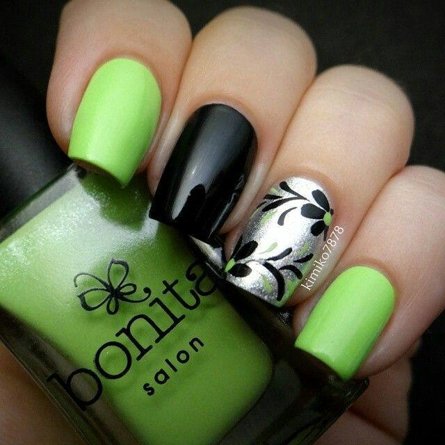 Lime green black and silver floral nailart #nailart #nails #black ... - Nail Designs Green And Black ~ Beautify Themselves With Sweet Nails