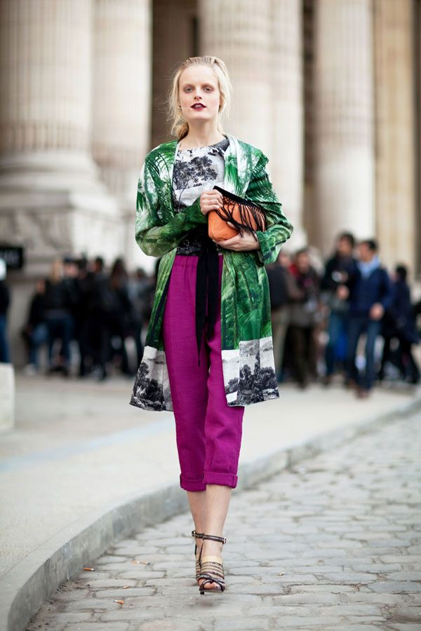 what-do-i-wear:    Risk-taker model off duty Hanne Gaby during Paris Fashion Week   (image: harpersbazaar)