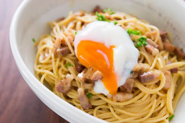Carbonara with Slow Cooked Egg (Slow Cooked Egg Recipe@norecipes.com)