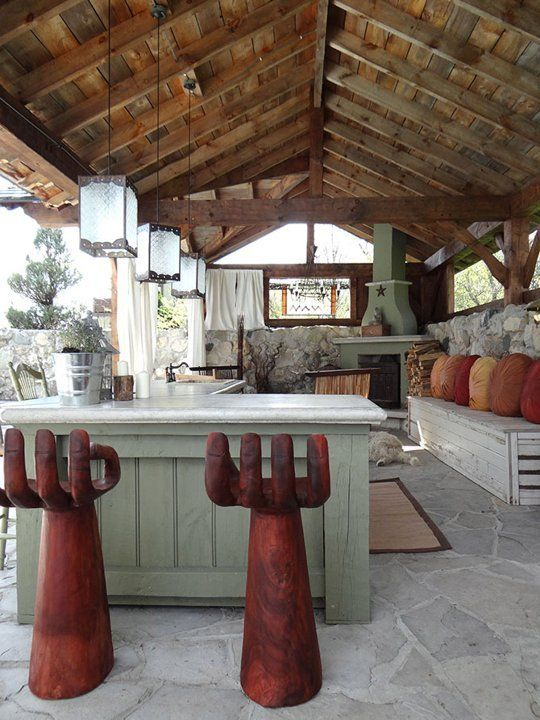 Lynne 39 s antique barn outdoor kitchen my great outdoors for Barn kitchen designs