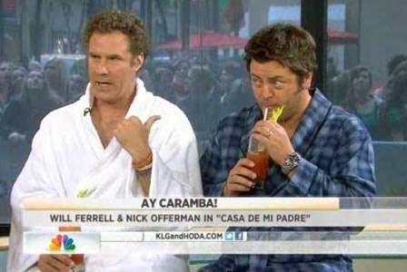 Will Ferrell and Nick Offerman, bathrobes and bloodies on Today.