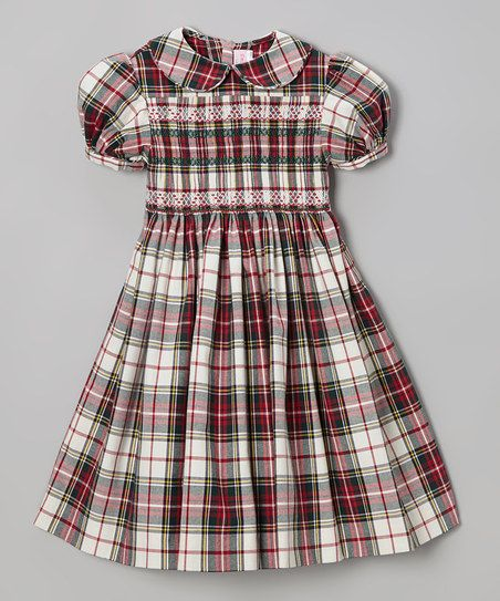 Red amp green plaid smocked holiday dress infant toddler amp girls