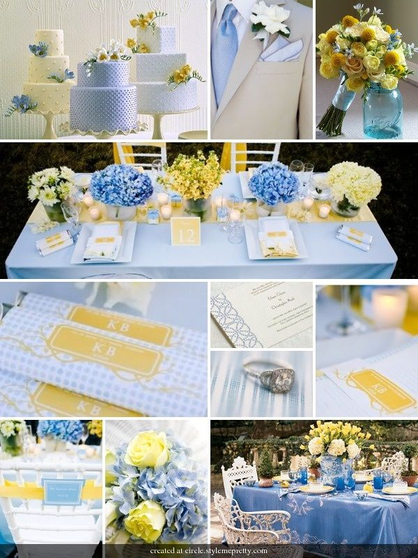 Sky blue and yellow wedding wedding ideas pinterest for Baby blue wedding decoration ideas