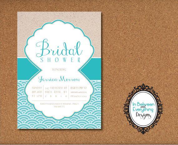 beach diy printable bridal shower invitation beach and nautical theme ...