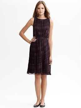 Purple Print Pleated Dress (Vineyard). Banana Republic. $130.00