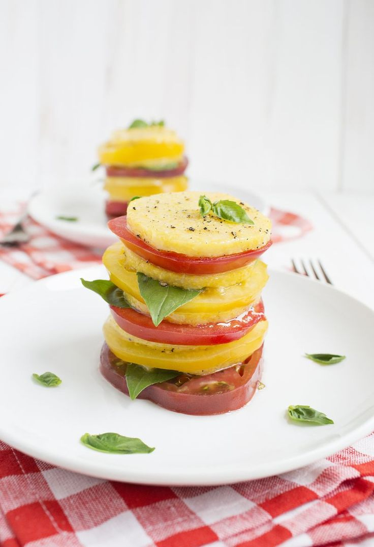 ... fancy tomato salad-Baked Polenta and Tomato salad-A Beautiful Mess
