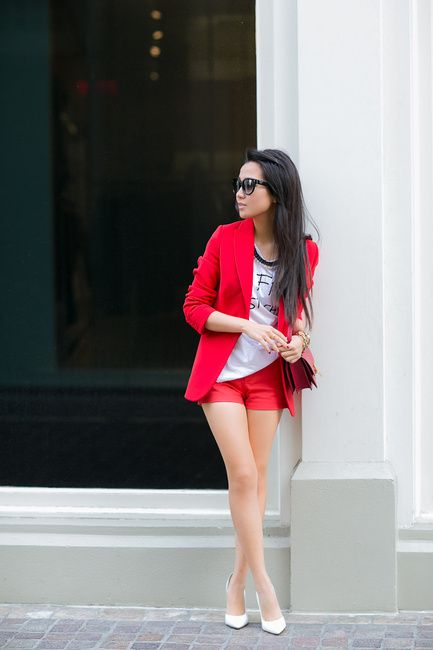 Shorts & Blazer | Red | Wendys Lookbook
