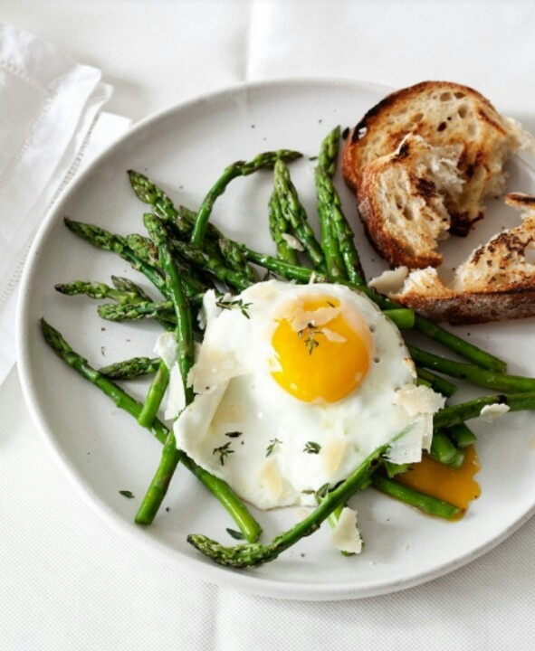 Parmesan Fried Egg Asparagus and Bread | Eye Eat | Pinterest