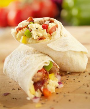 Breakfast burrito with eggs and chorizo, very good for kidney disease ...