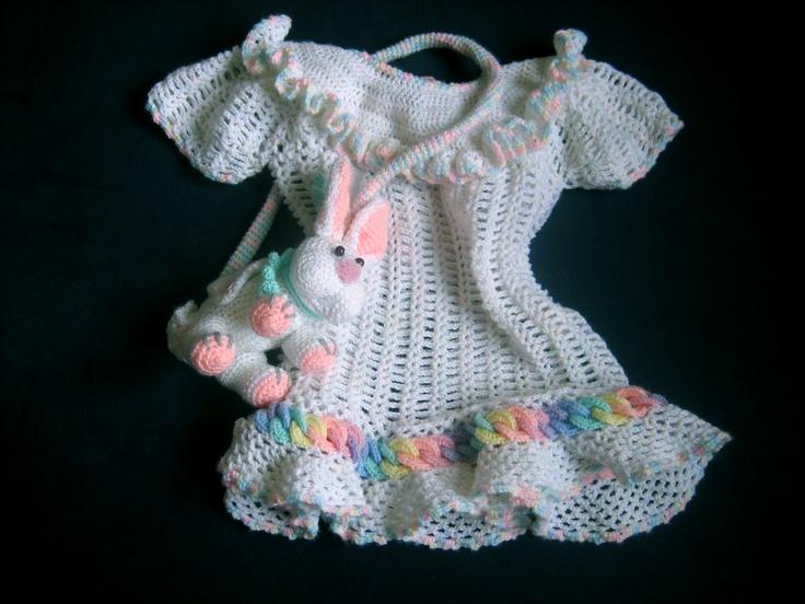 Free Crochet Patterns For Baby Boy Pants : Baby Rainbow Rings Layette Dress free crochet pattern ...