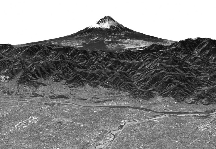 "Mt. Fuji observed by the PRISM (Panchromatic Remote-sensing Instrument for Stereo Mapping) onboard the satelite ""Daichi"" - copyright by JAXA"