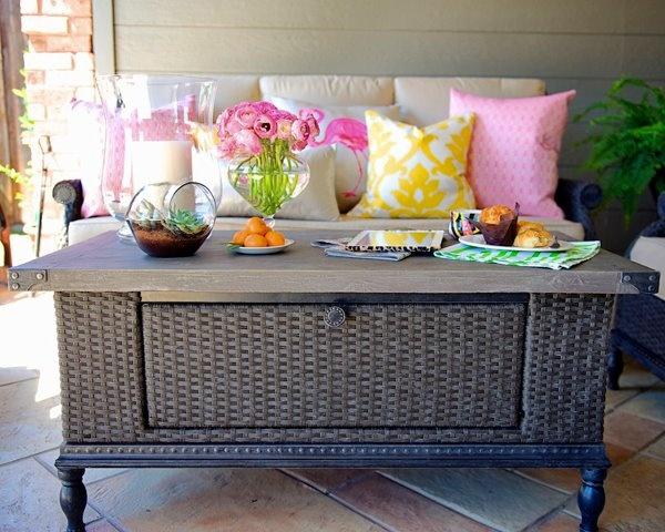Wicker coffee table indoor outdoor home decor pinterest - Indoor patio decorating ideas ...